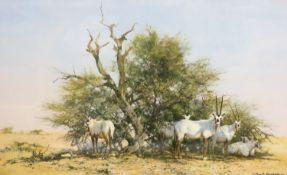David Shepherd, limited edition print, 'Arabian Oryx', signed, 51 x 78cm