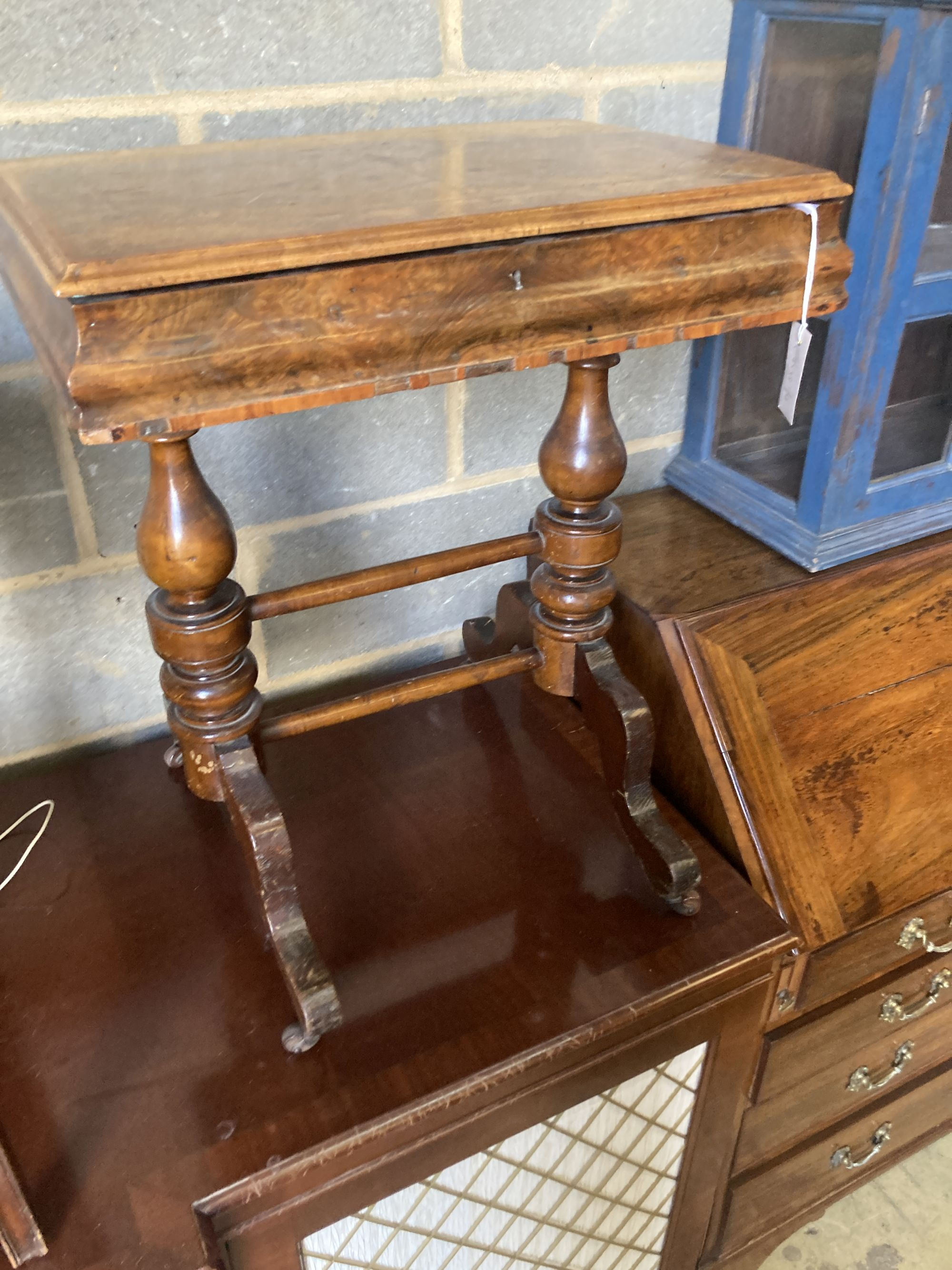 A Victorian burr walnut work table, width 56cm, depth 41cm, height 69cm, together with a Georgian - Image 5 of 7