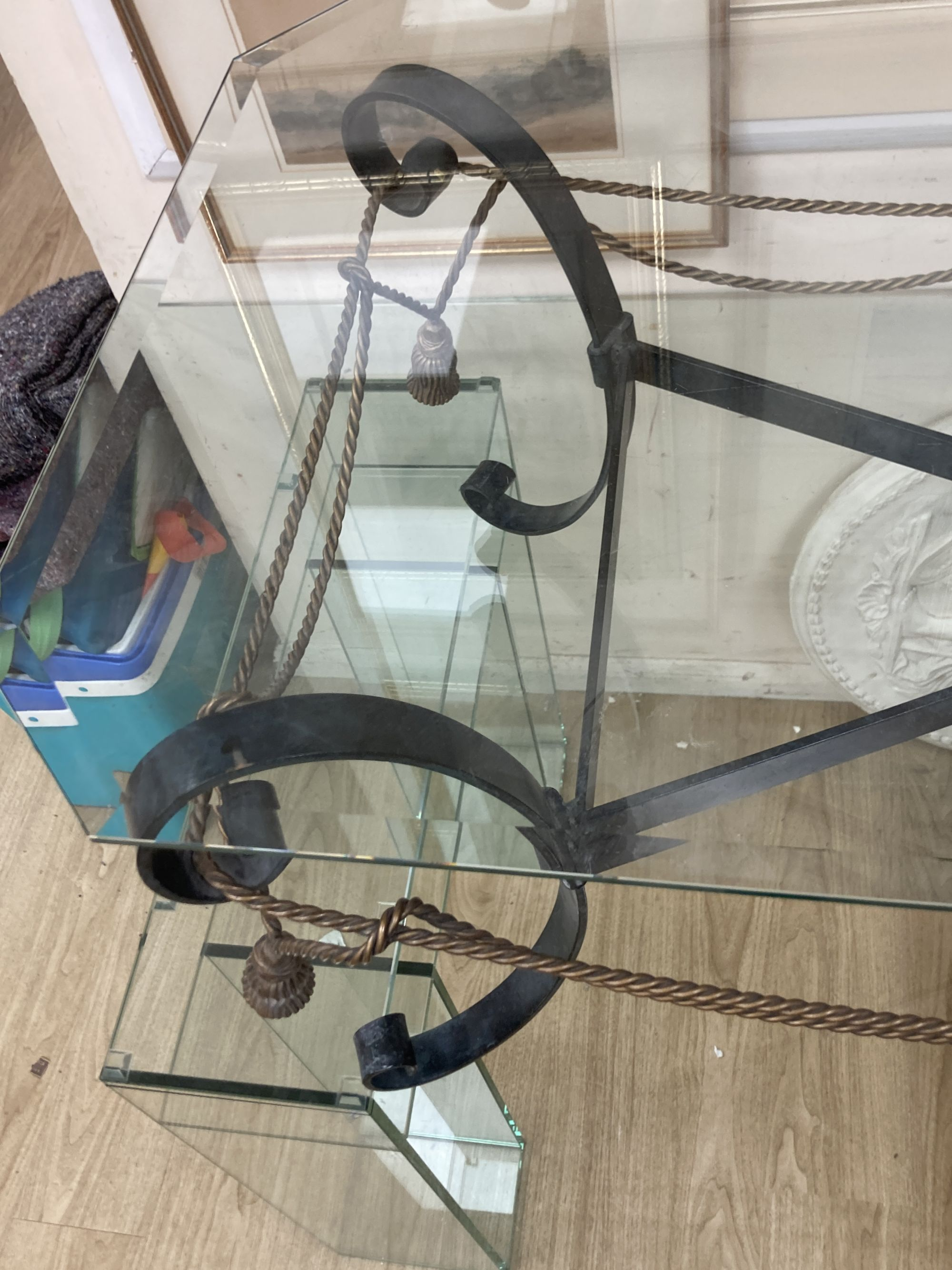 A contemporary wrought iron glass top coffee table with octagonal glass top, width 122cm, depth - Image 4 of 4