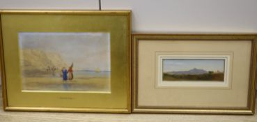 19th century English School, oil on board, Italian landscape, initialled SH, label verso, 5.5 x 15.
