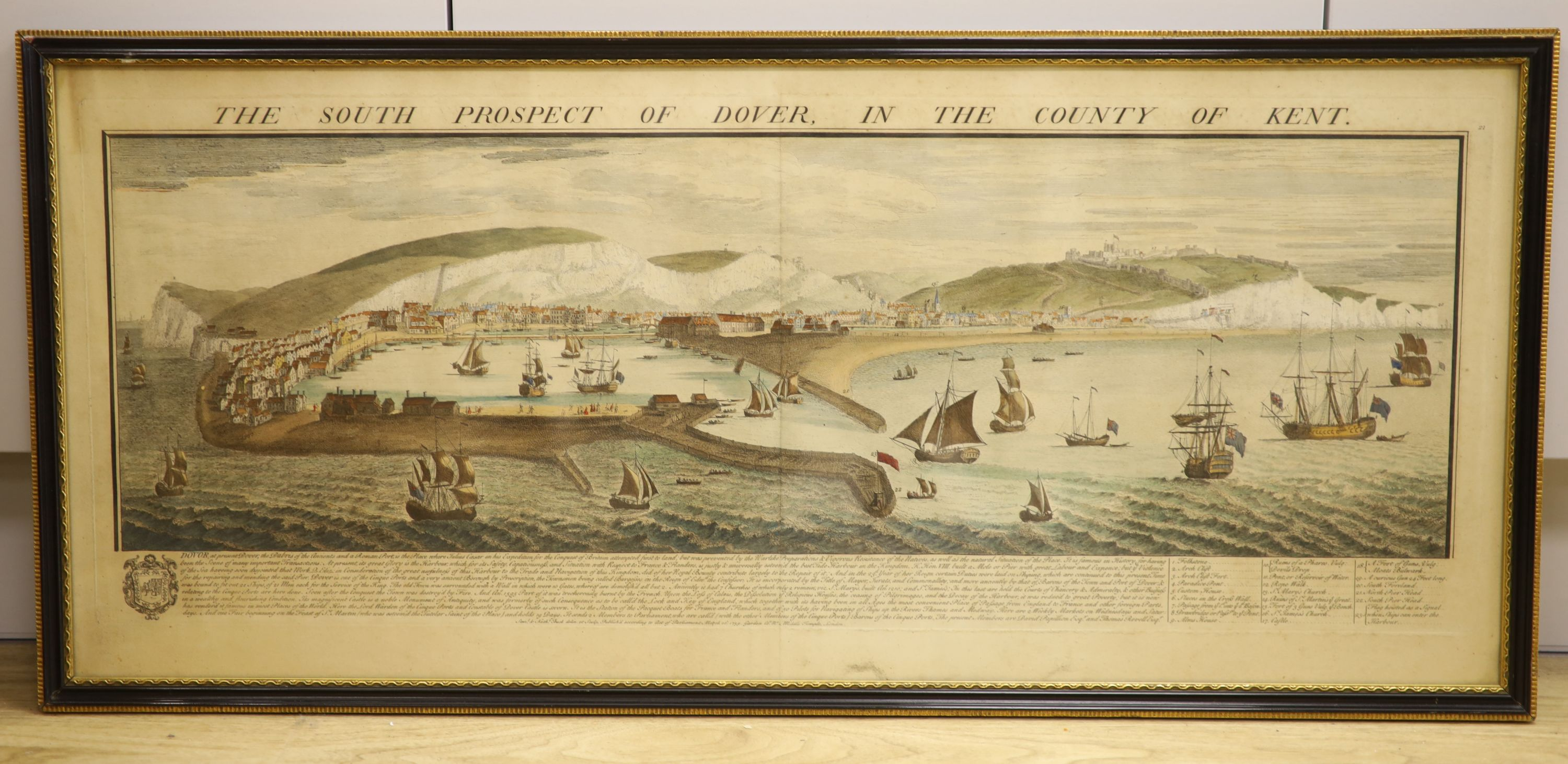 S and N Buck, coloured engraving, The South Prospect of Dover in the County of Kent, 35 x 83cm - Image 2 of 2