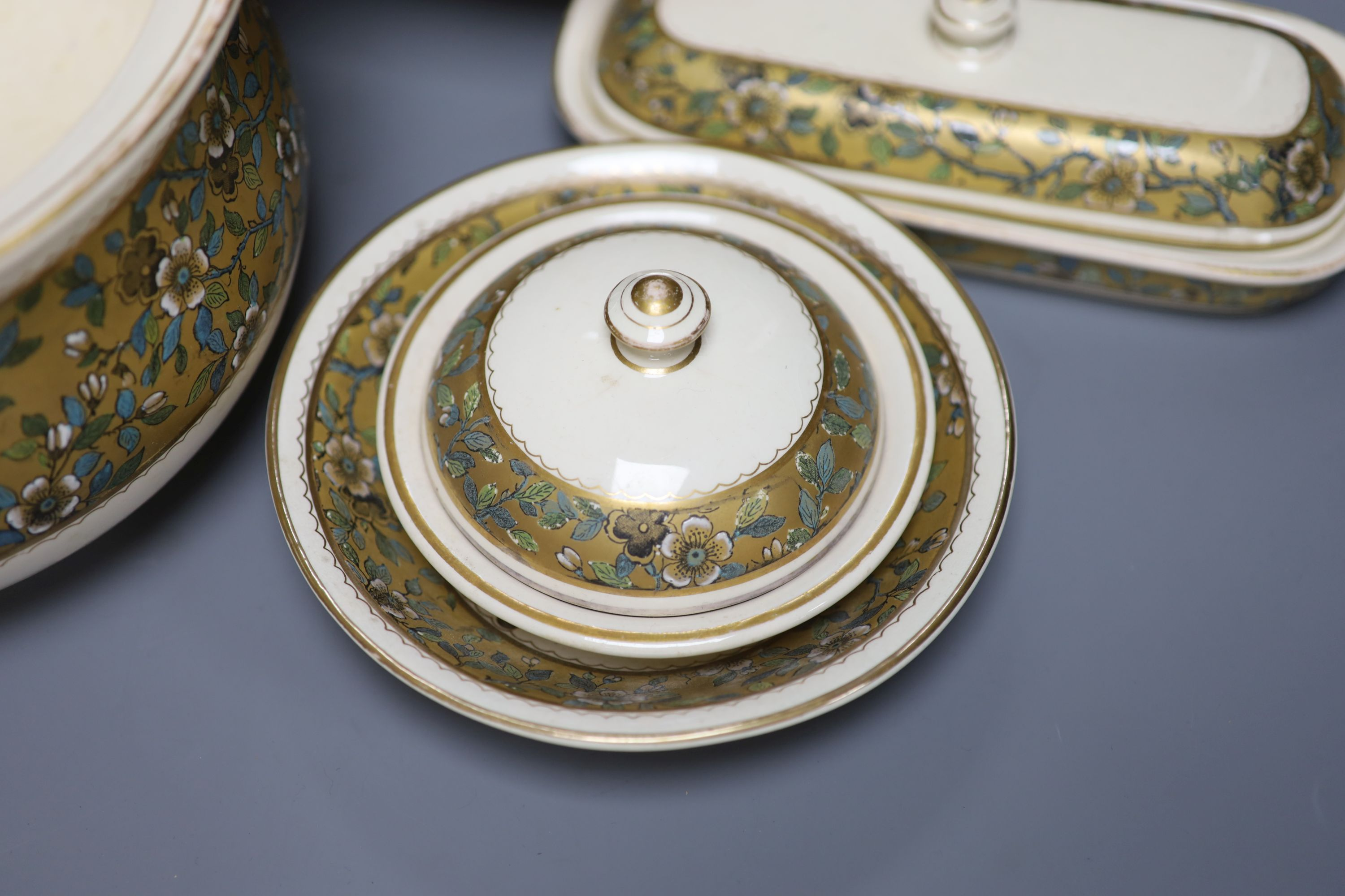 A Doulton Aesthetic period pottery washstand set, jug 27cm - Image 3 of 7