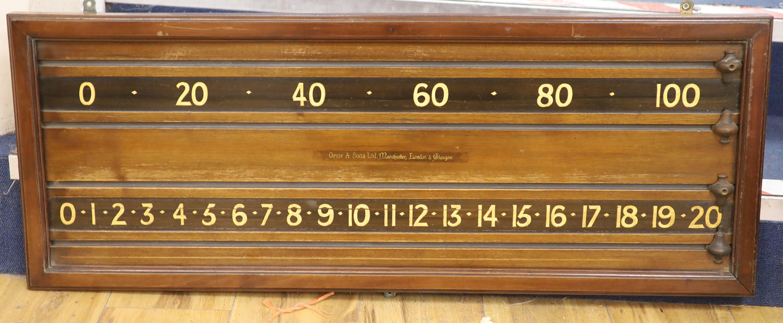 An Orme & Son Ltd mahogany snooker score board, 92cm long, 35cm high