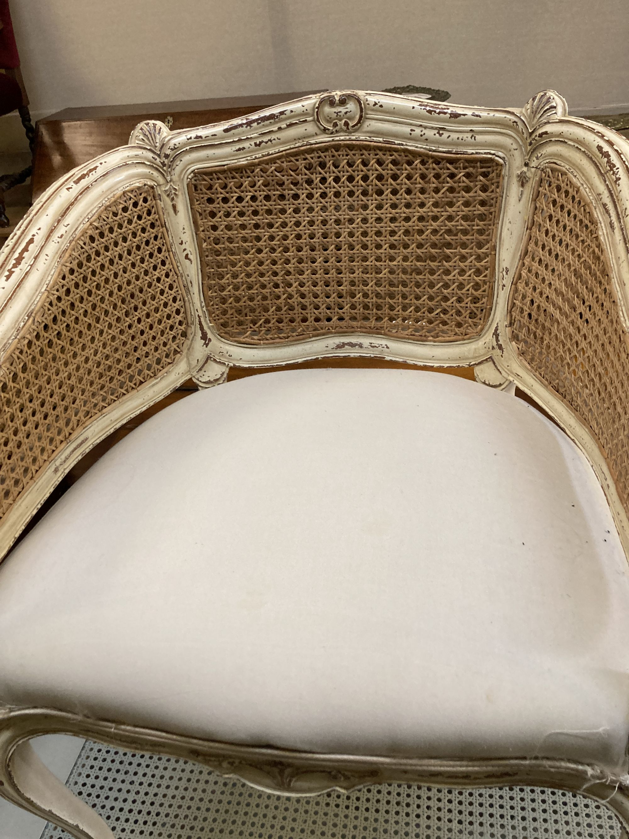 A Louis XVI style painted caned tub framed chair, width 62cm, depth 50cm, height 80cm - Image 2 of 4