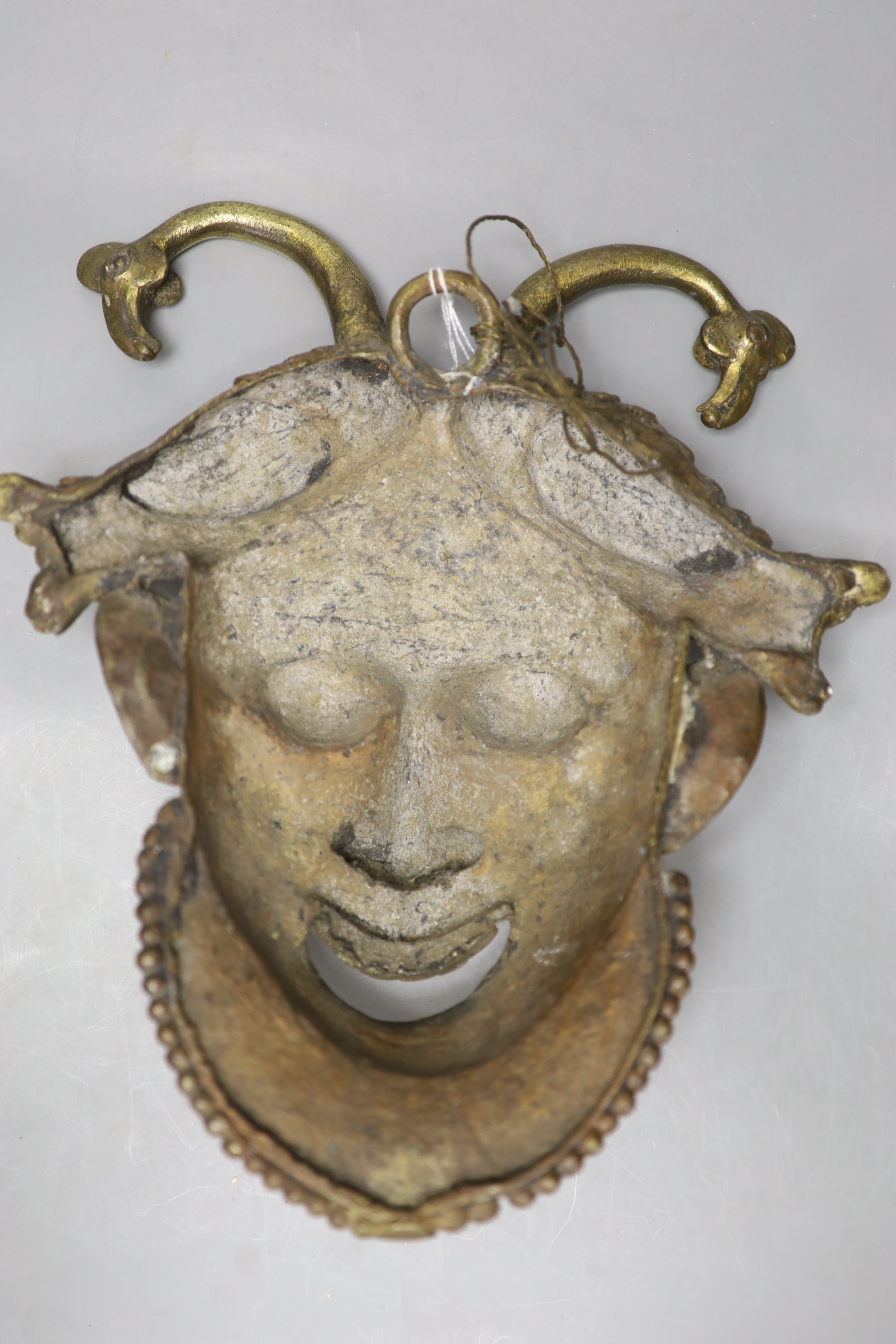 A gilt bronze wall mask, height 33cm - Image 2 of 2