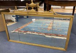 An Adam design gilt frame overmantel mirror, width 112cm, height 78cm