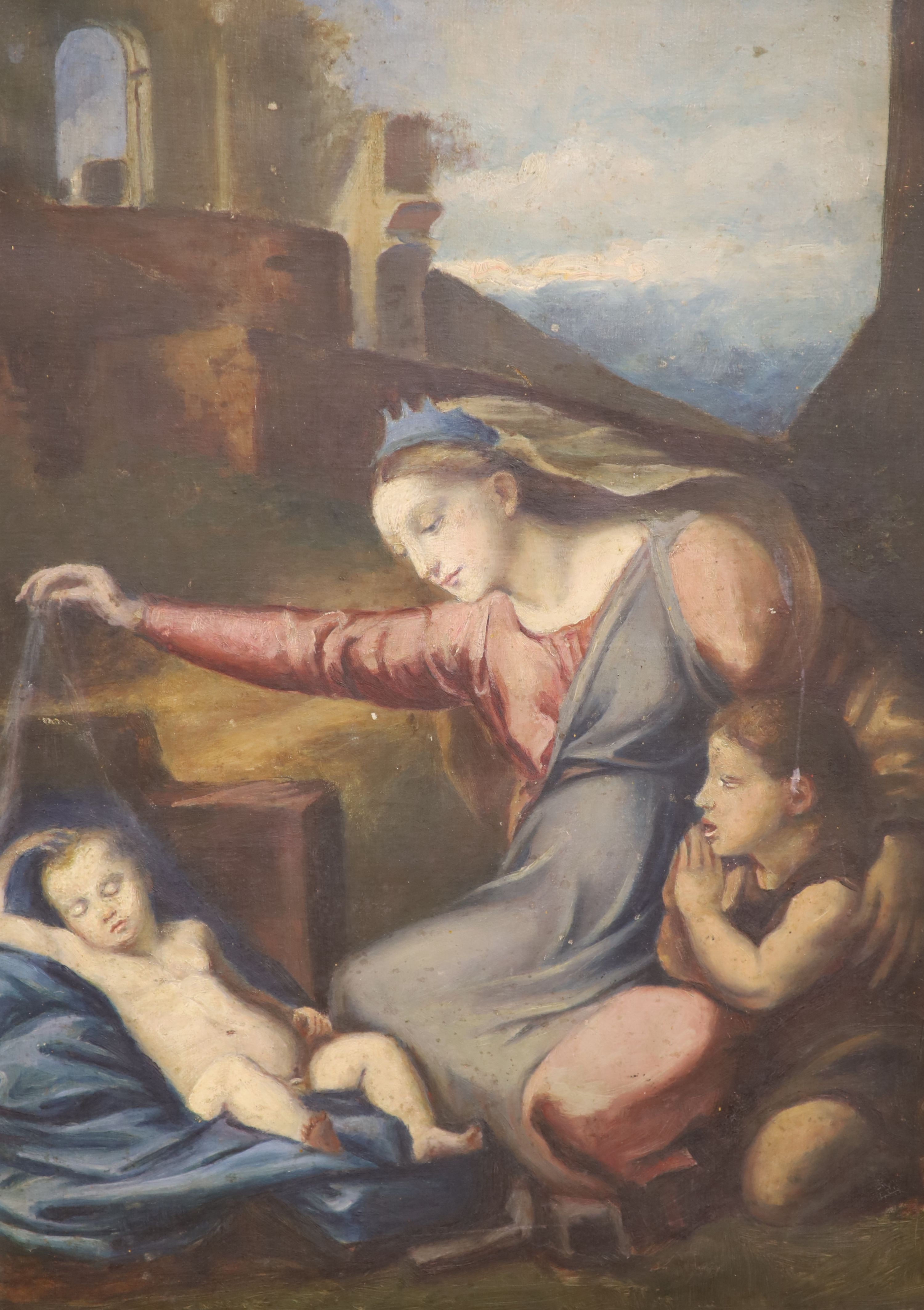 19th century French School, oil on canvas, Virgin and child with John the Baptist, 66 x 47cm