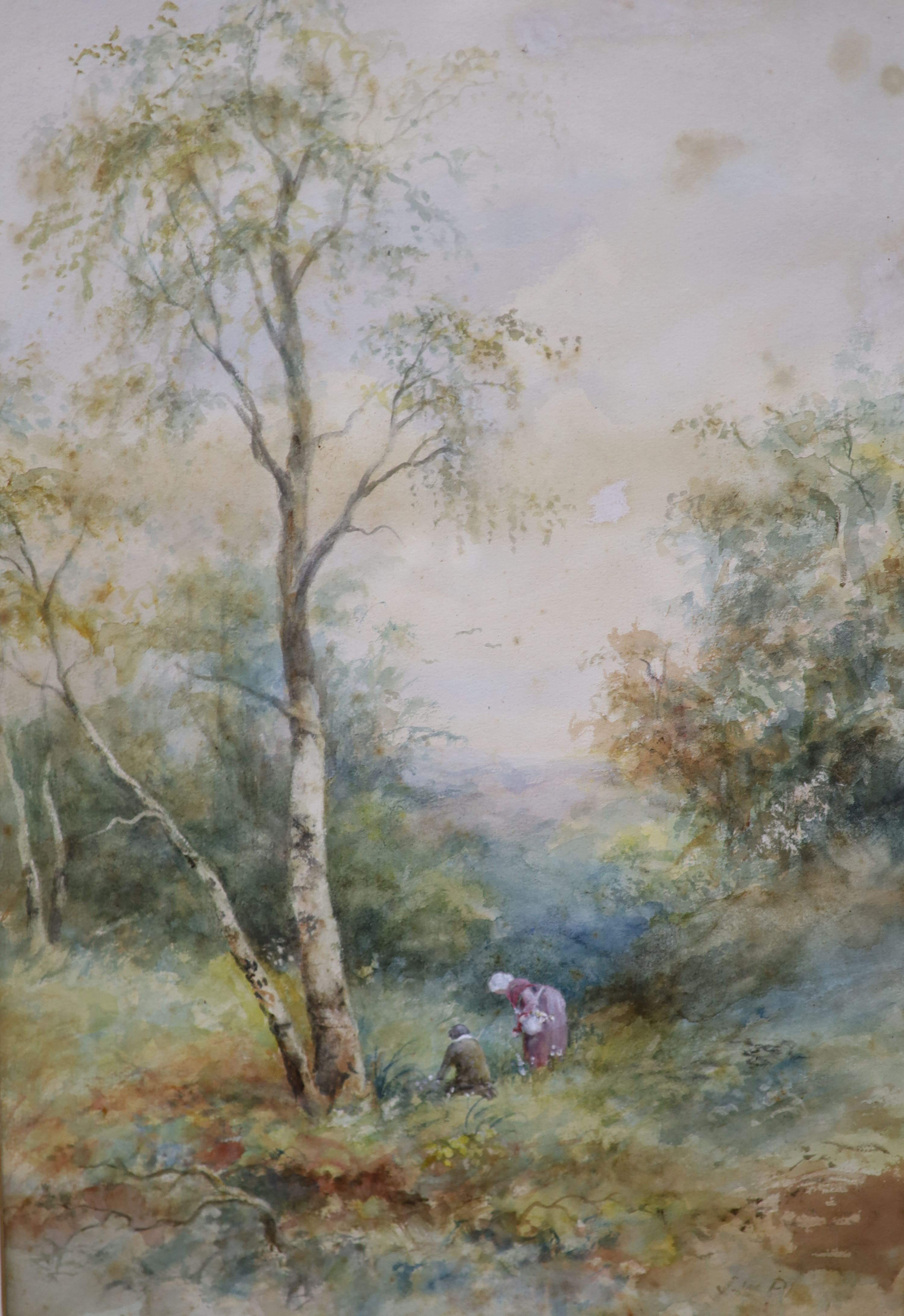 J.W.Philips RA, watercolour, Figures in woodland, signed, 46 x 32cm