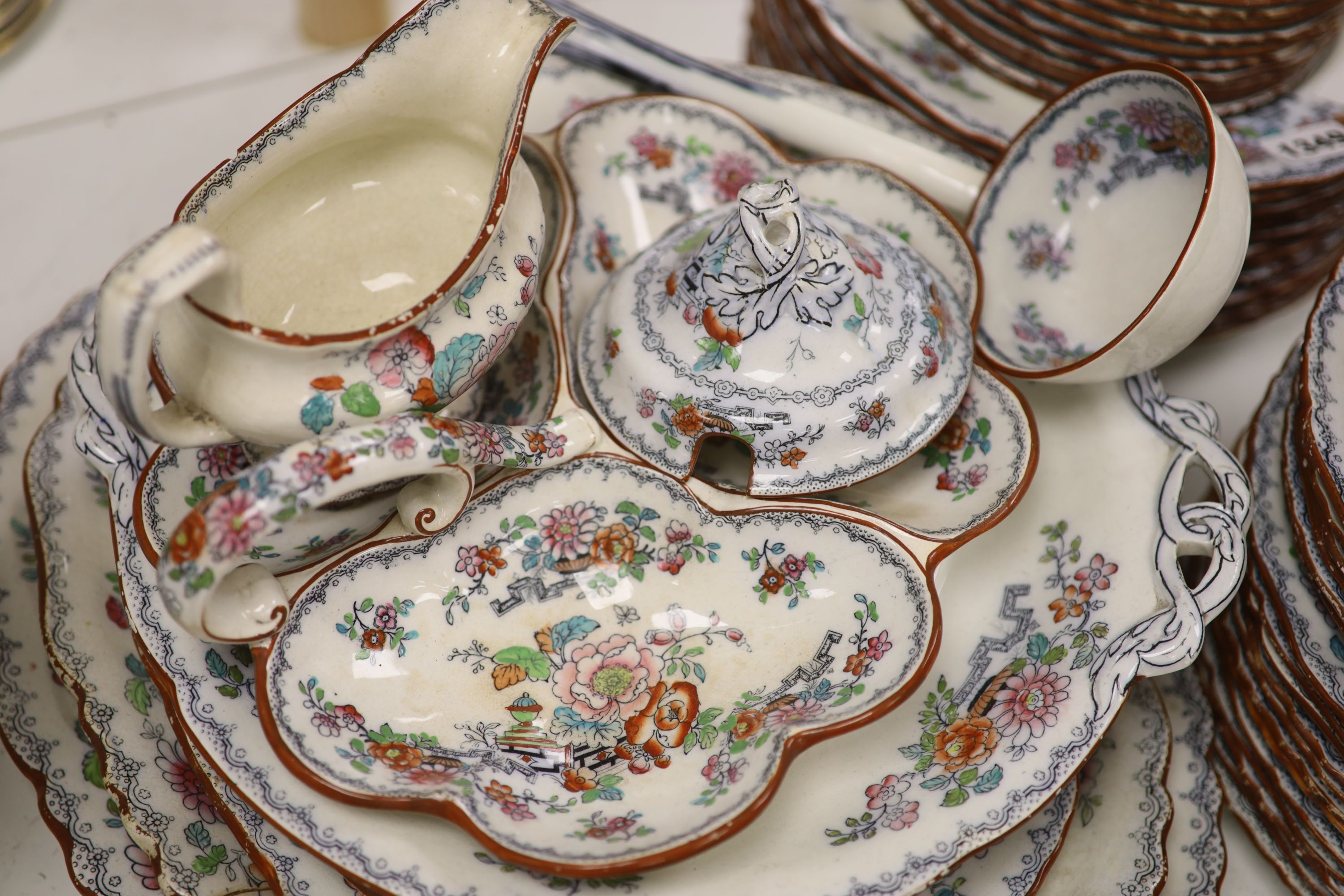 A Victorian Ashworth ironstone part dinner service - Image 2 of 6