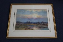 Benjamin John Ottewell (fl.1885-1913), watercolour, Open landscape at sunset, 34 x 46cm signed and