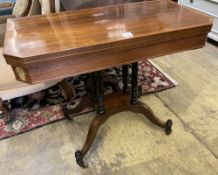 A Regency banded rosewood folding card table, width 91cm depth 45cm height 75cm