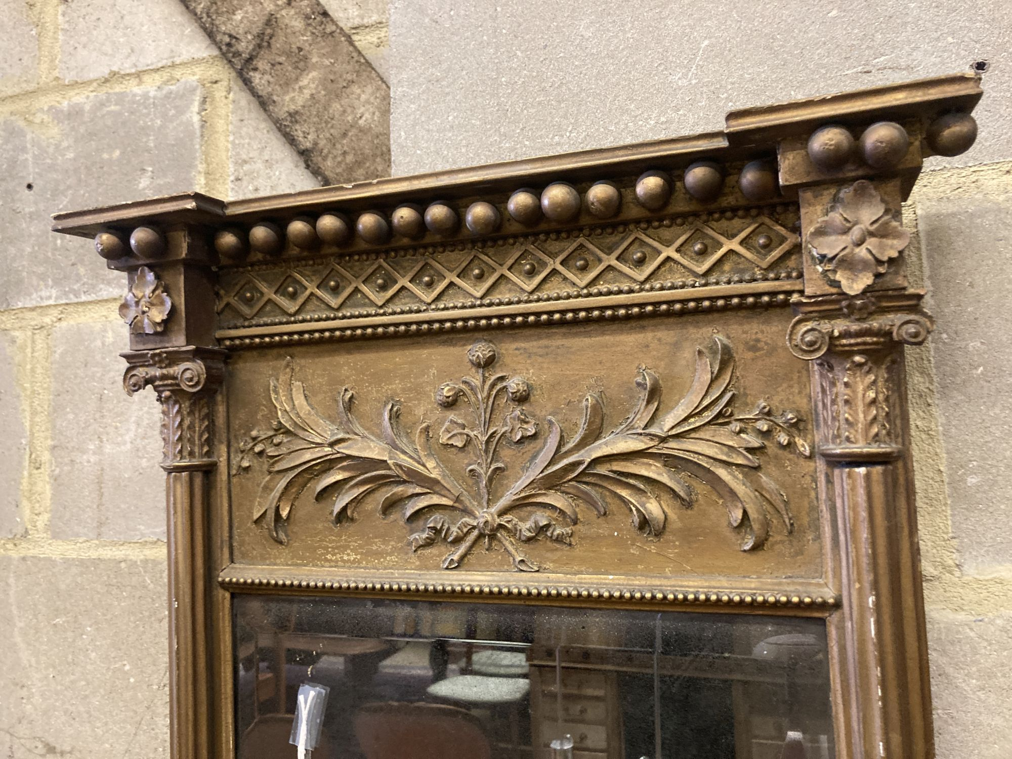 A Regency giltwood and gesso pier glass, width 52cm height 97cm - Image 2 of 4