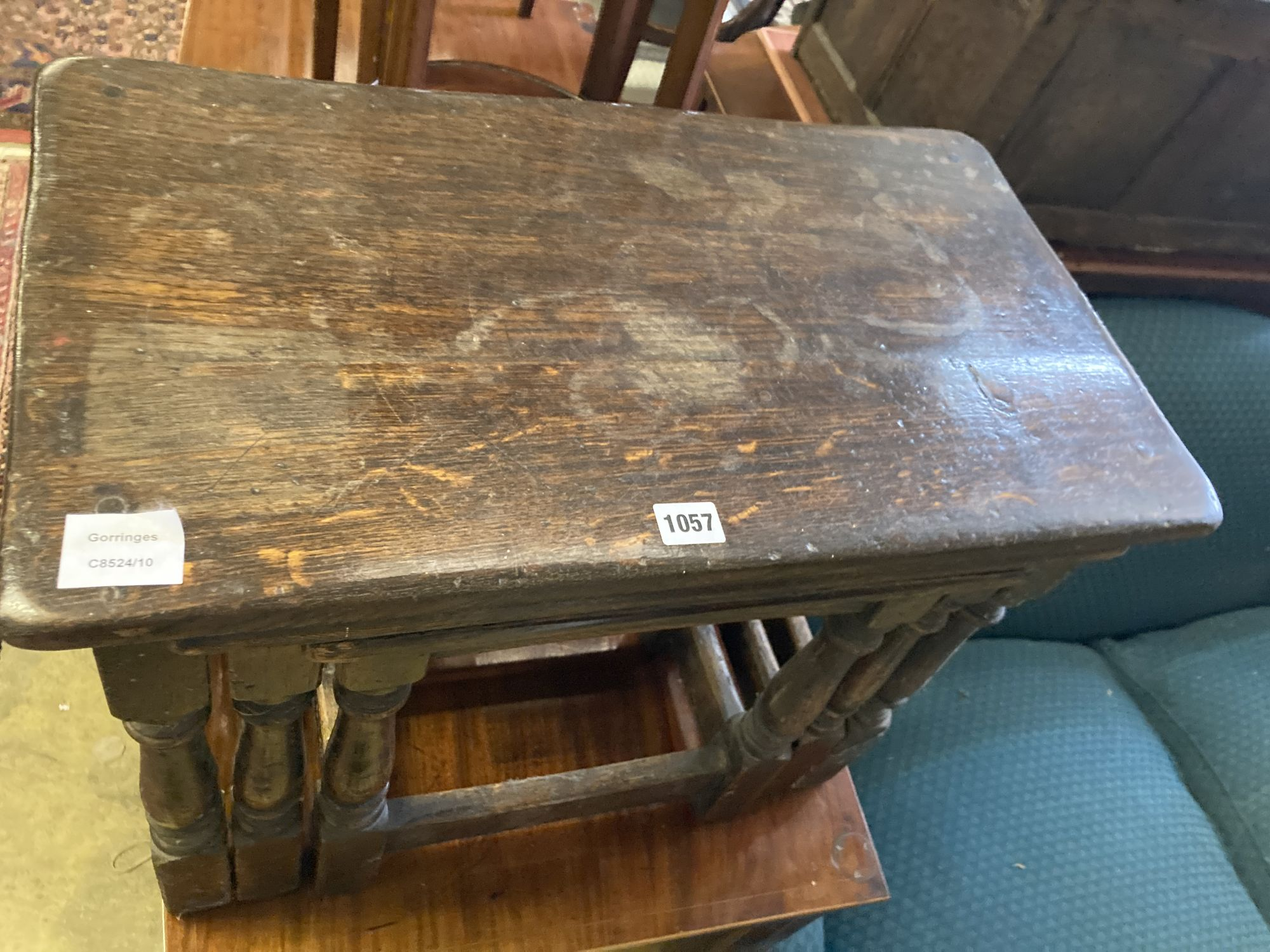 A nest of three 17th century style rectangular oak tea tables, width 61cm, depth 34cm, height 48cm - Image 2 of 4