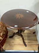 A George III mahogany and later inlaid circular topped tea table, c.1780, diameter 60cm, height