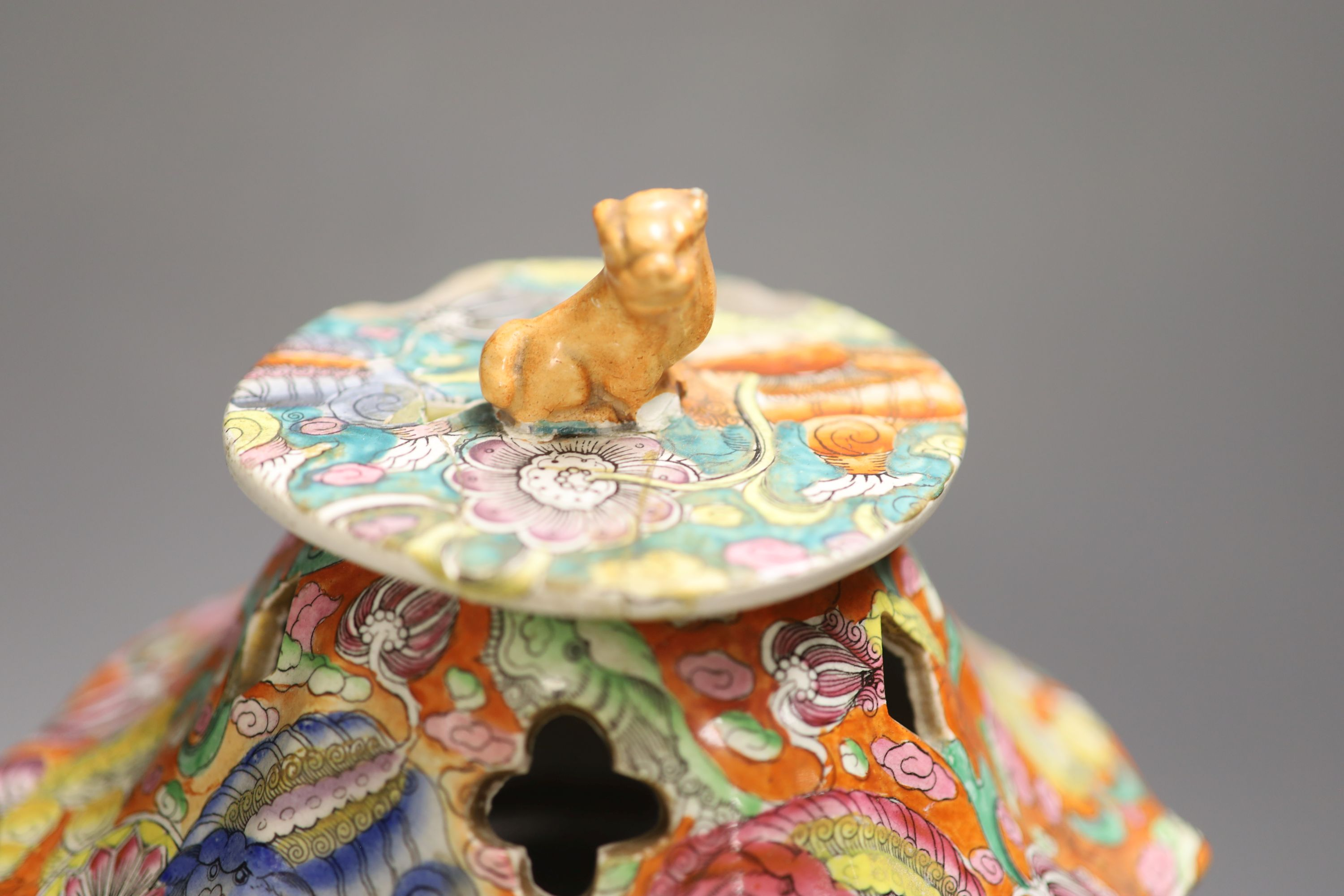 A 19th century chinoiserie ironstone vase and cover, height 41cm (a.f.)CONDITION: Cover modified, - Image 2 of 5