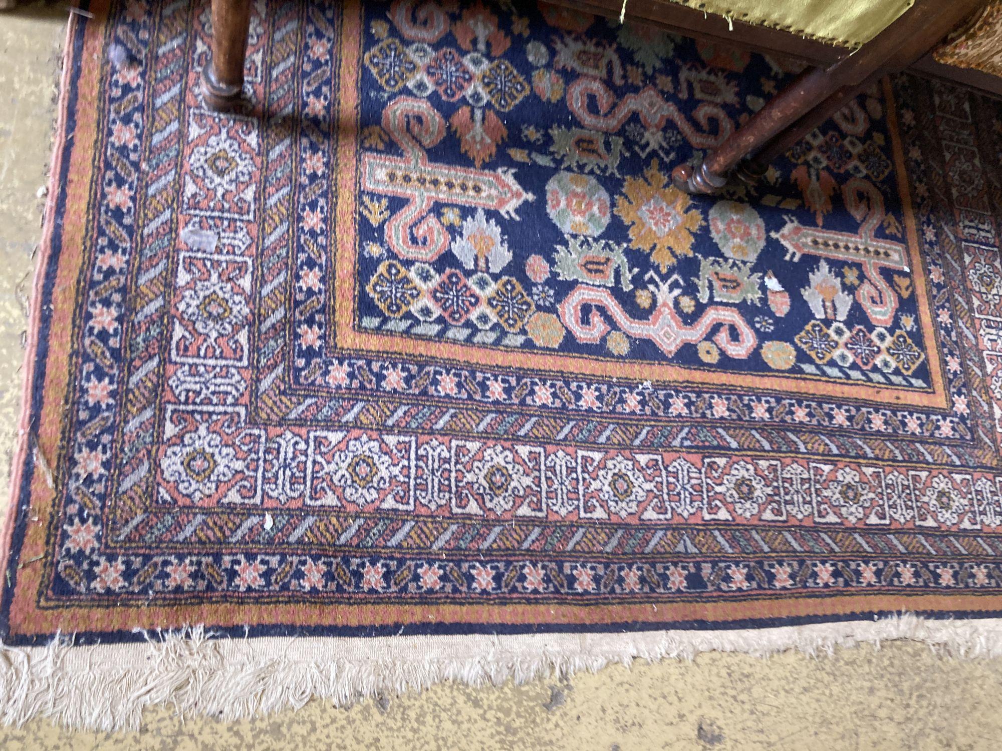 A Caucasian blue ground rug, 200 x 132cm - Image 2 of 2