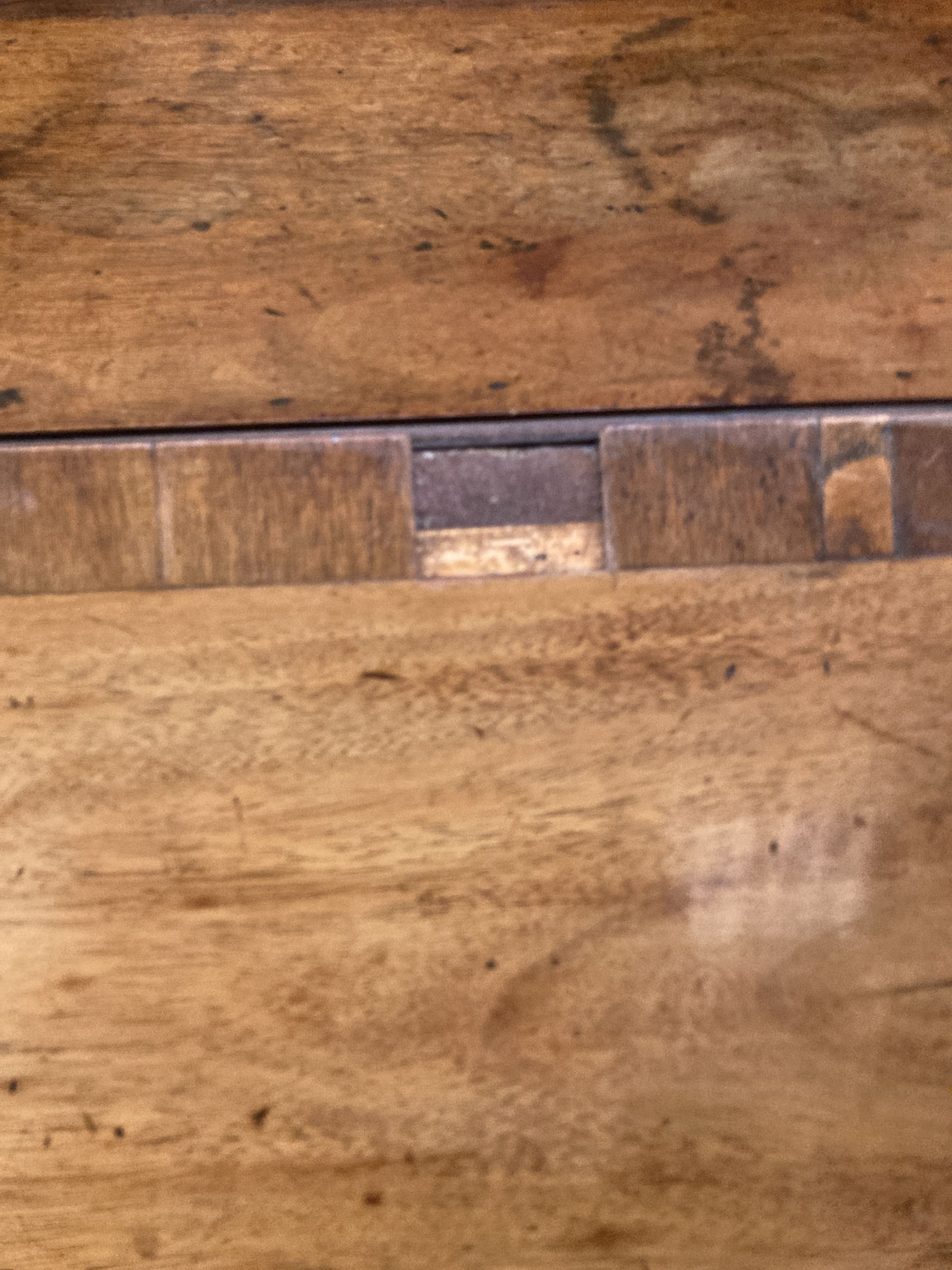 A George III mahogany bureau, with brass swing handles, on bracket feet, width 90cm, depth 50cm, - Image 5 of 5