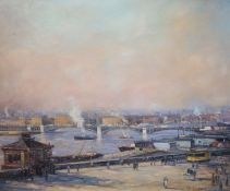 J. Desotta, oil on board, Figures beside the docks, a city beyond, signed, 49 x 60cmCONDITION: Oil