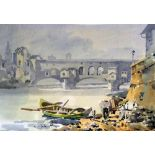Giulio Falzoni (1900-1978), watercolour, View of the bridge at Florence, signed, 23 x 33cmCONDITION: