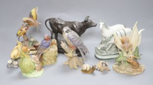 A patinated spelter figure of cow, signed C. Valton and a group of porcelain animal and bird