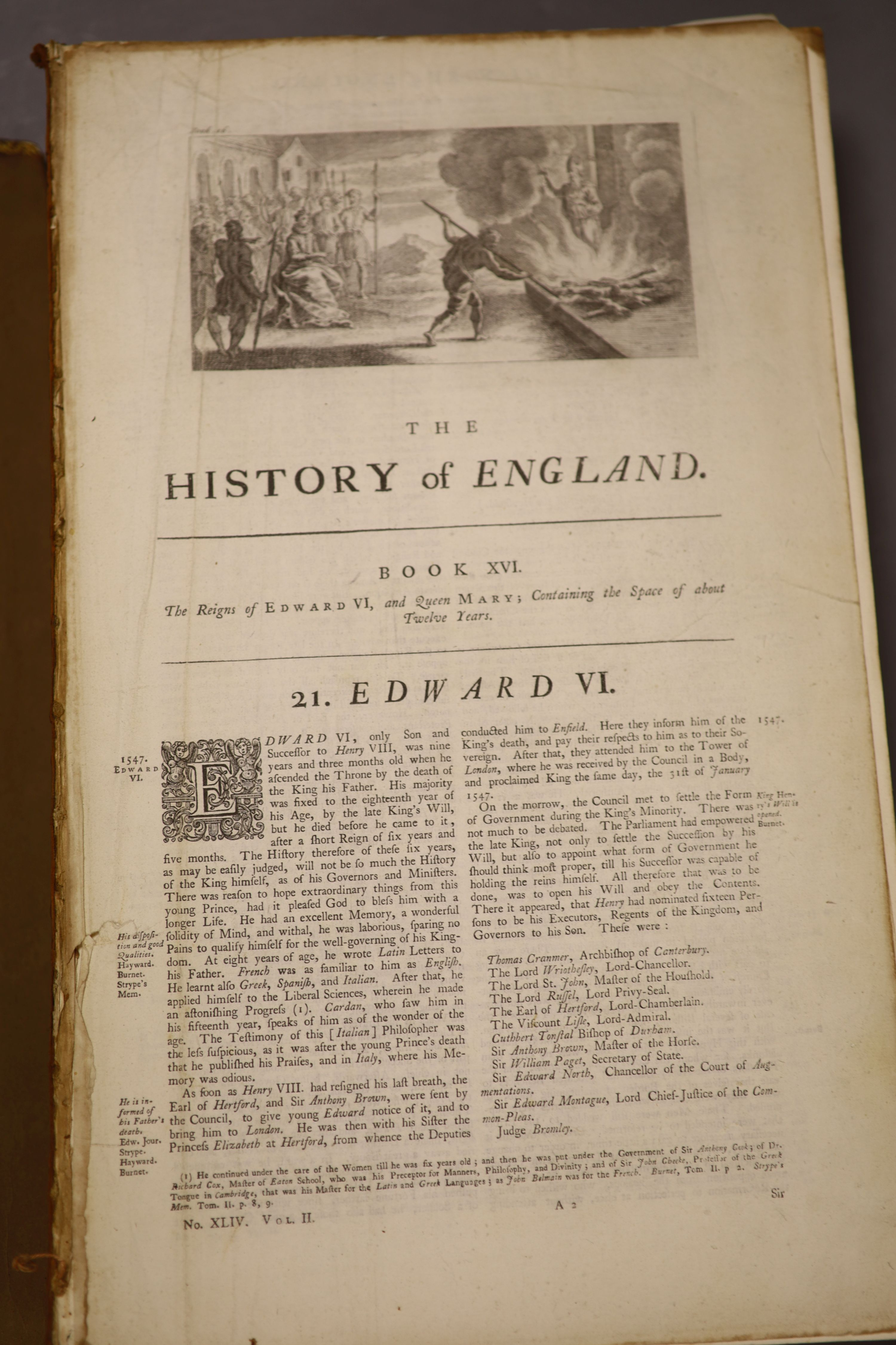 History of England, Tindal 4 vols, quarto, plates removed, boards detached - Image 5 of 5