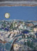 § James Downie Robertson (1931-2010), oil on canvas, 'Forest and Moon', inscribed verso with