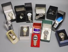 A collection of designer and other quartz wristwatches, including a Casio Wave Ceptor chronograph