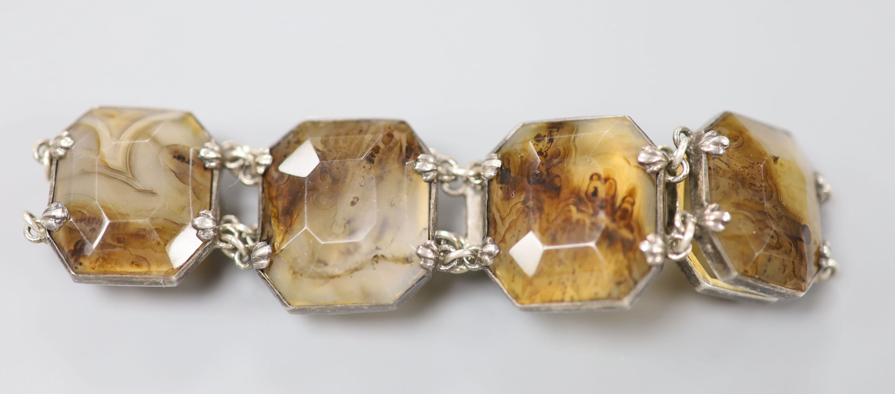 A 20th century white metal and facetted agate set bracelet, approx. 18cm, gross 37.2 grams. - Image 2 of 4
