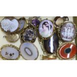Ten assorted mainly Victorian gilt metal hardstone set brooches, including mourning brooch, 54mm,