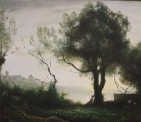 After Corot, oil on canvas, Shepherd boy in an Italianate landscape, 50 x 60cm