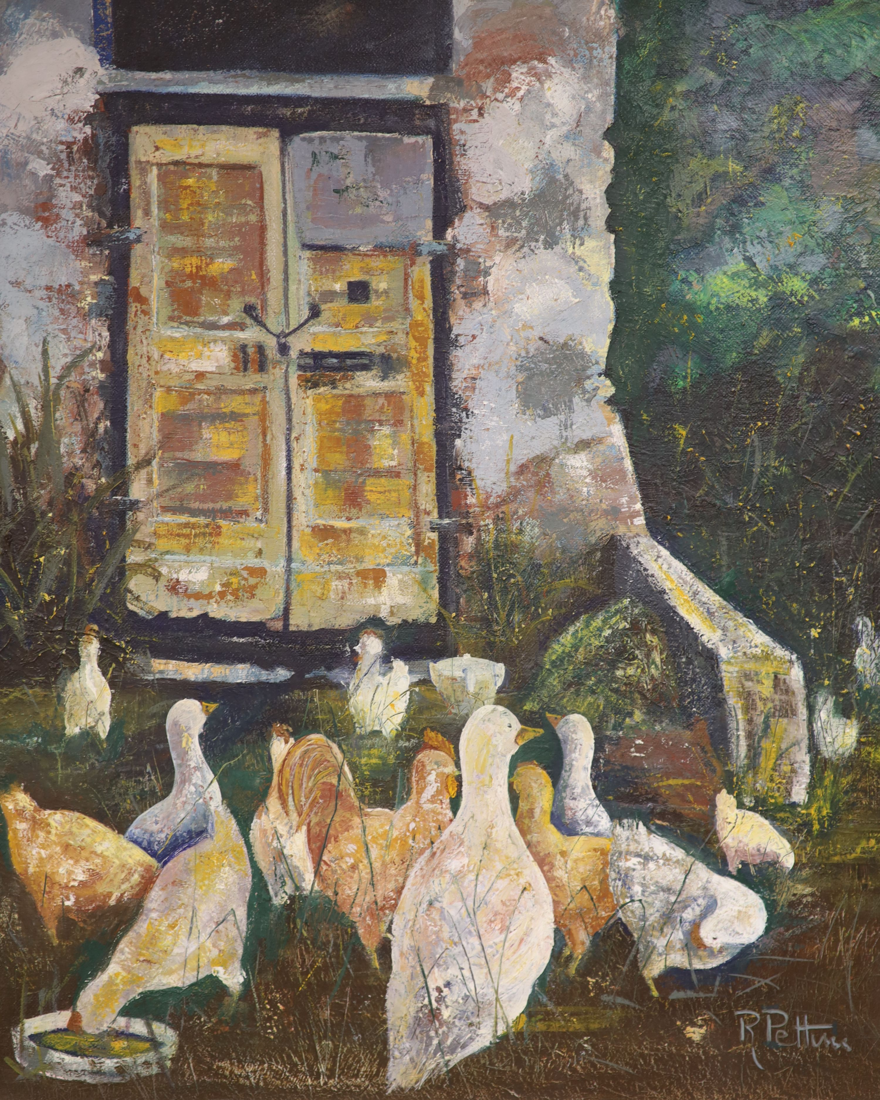 R. Pettini, oil on canvas, Poultry beside a church door, signed, 59 x 49cm
