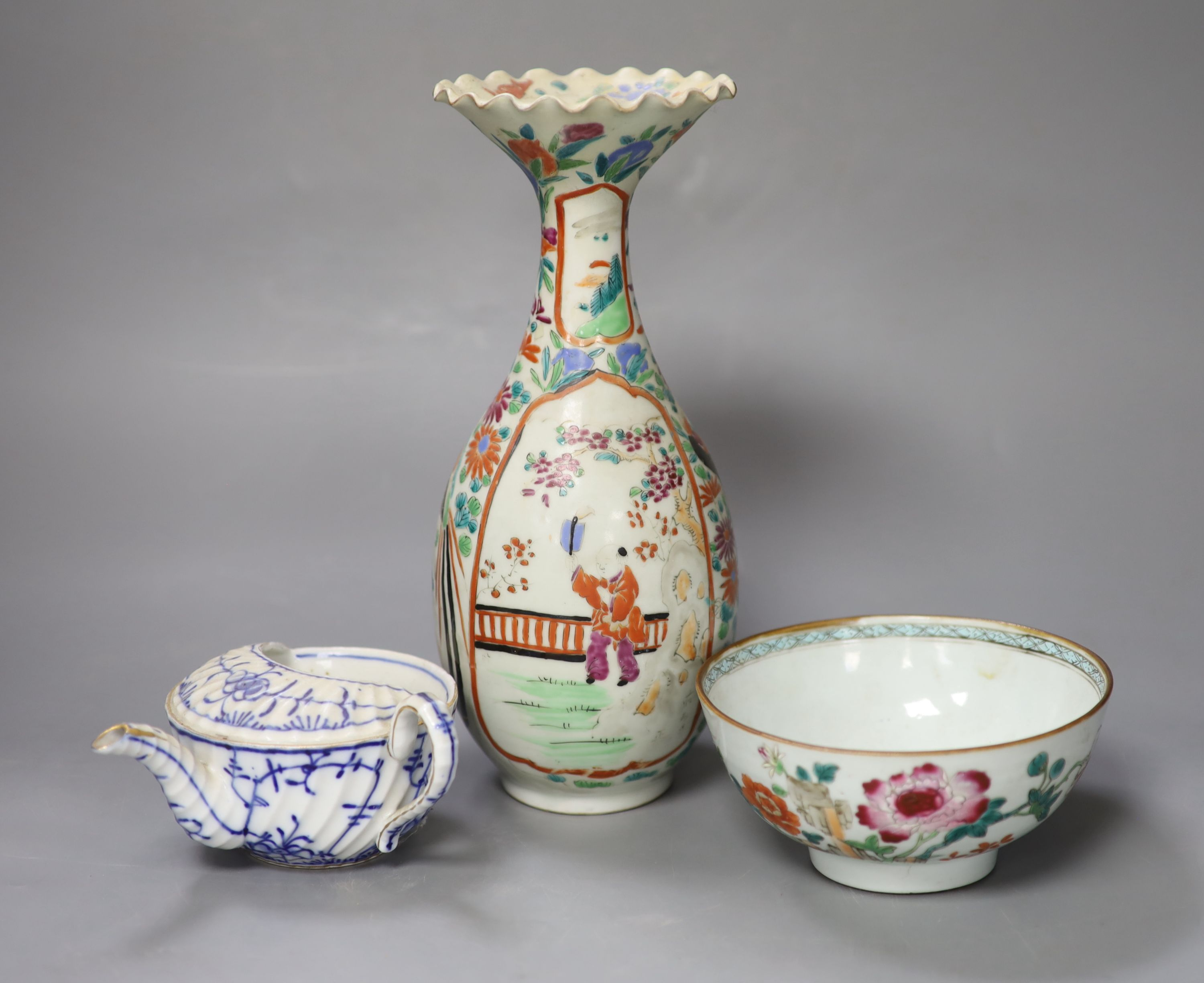 An 18th century Chinese famille rose bowl, a Japanese porcelain vase and and invalid cup, tallest