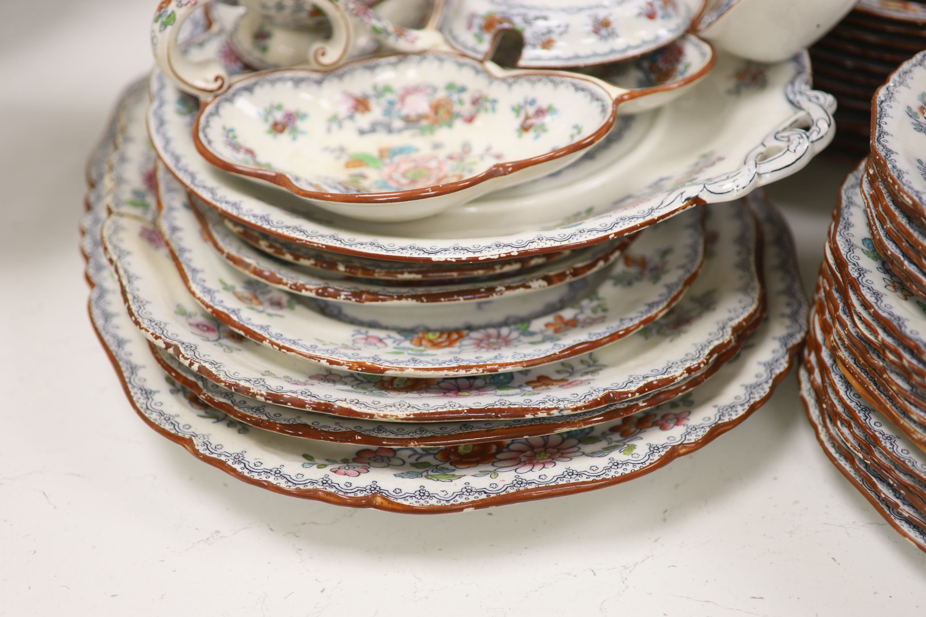 A Victorian Ashworth ironstone part dinner service - Image 4 of 6