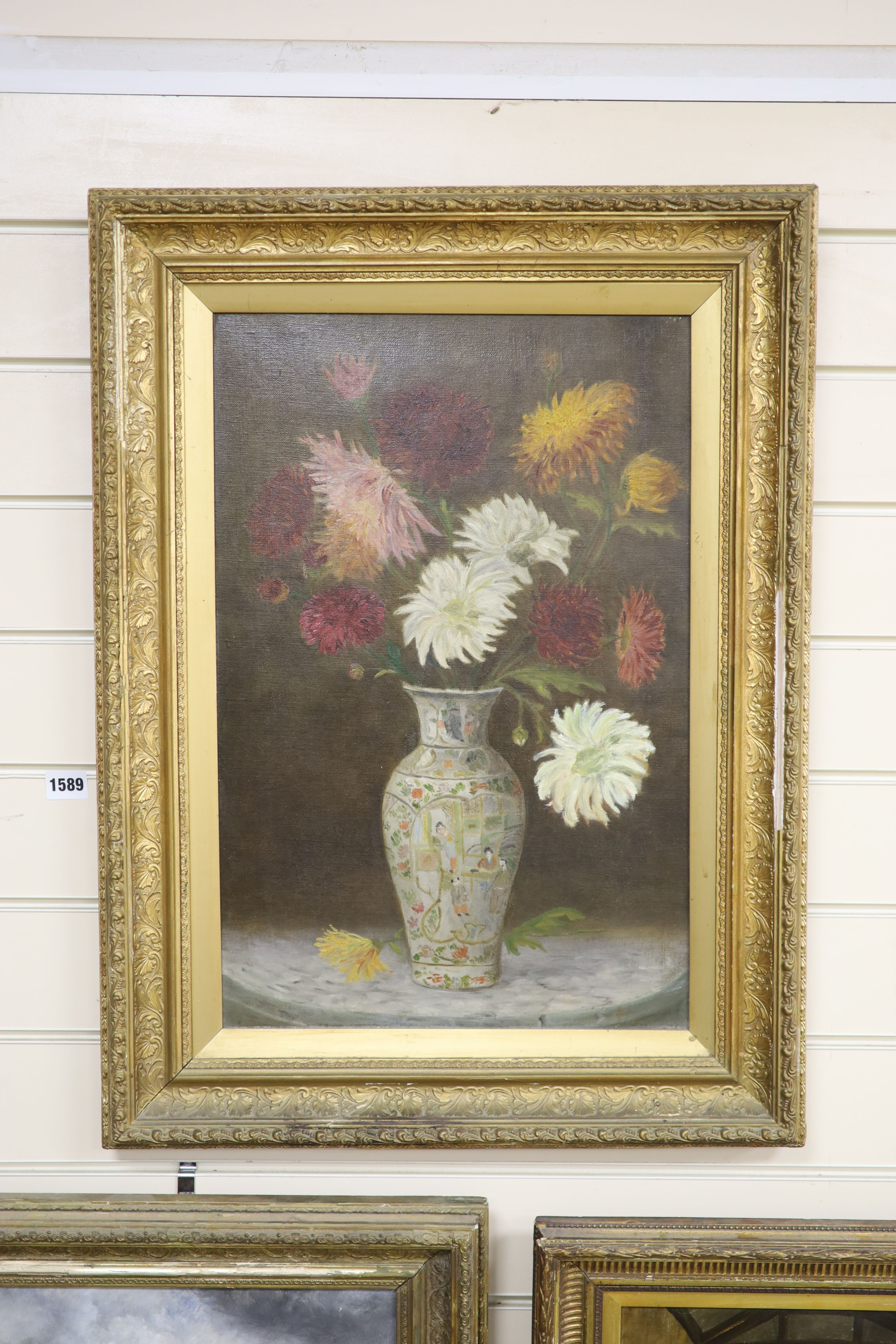 English school c.1900, three oils on canvas, Still life of flowers in a Chinese vase, 52 x 35cm, - Image 3 of 5