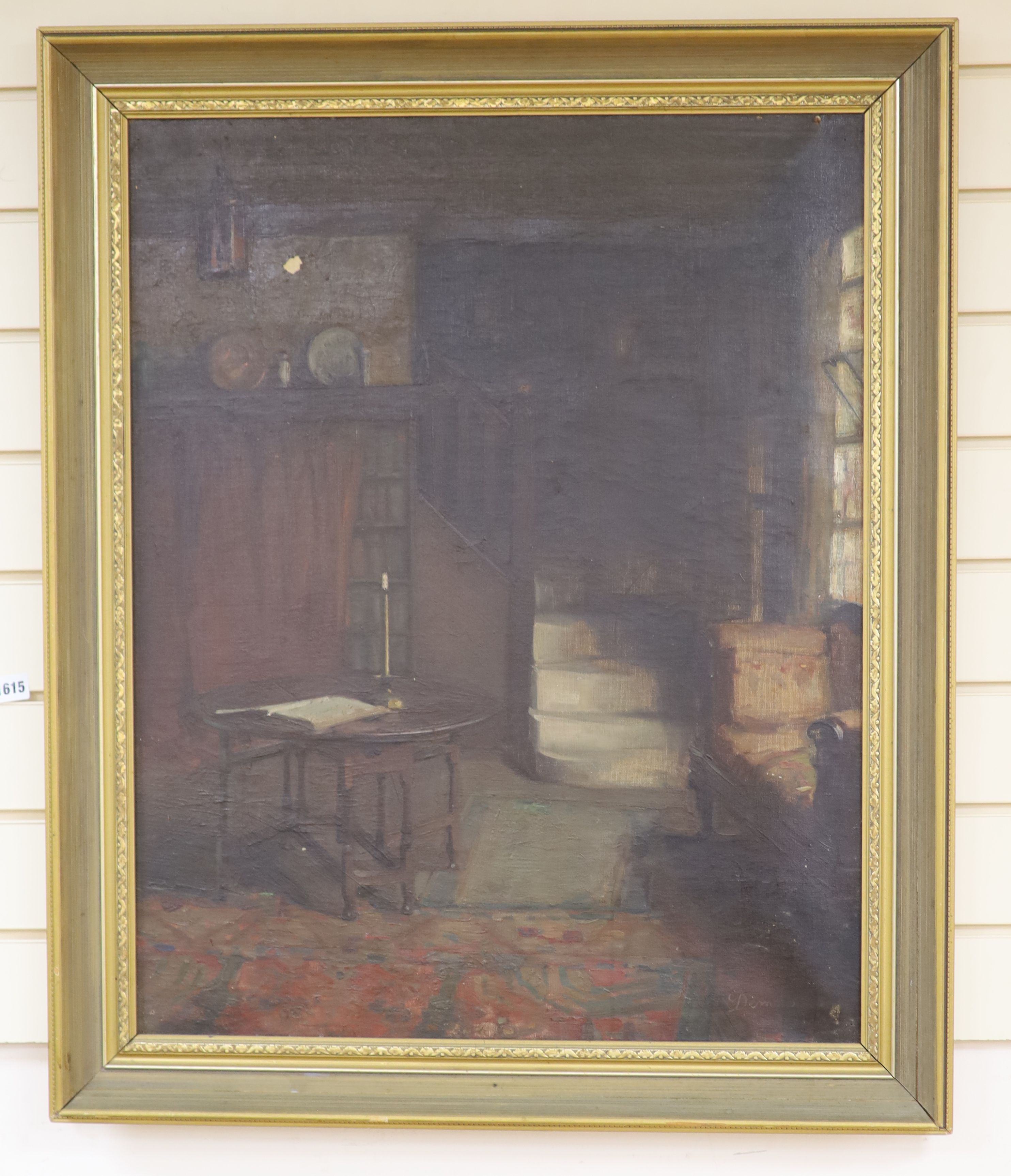 Victorian School, oil on canvas, Interior with gateleg table and lit candle, indistinctly signed, - Image 2 of 2