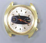 A gentleman's gilt steel Avia Olympic manual wind chronograph wrist watch, (no strap & button