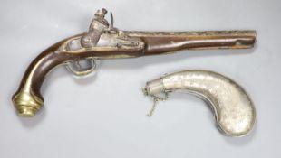 An 18th century Turkish flintlock pistol and an Eastern white metal powder flaskCONDITION: Hammer
