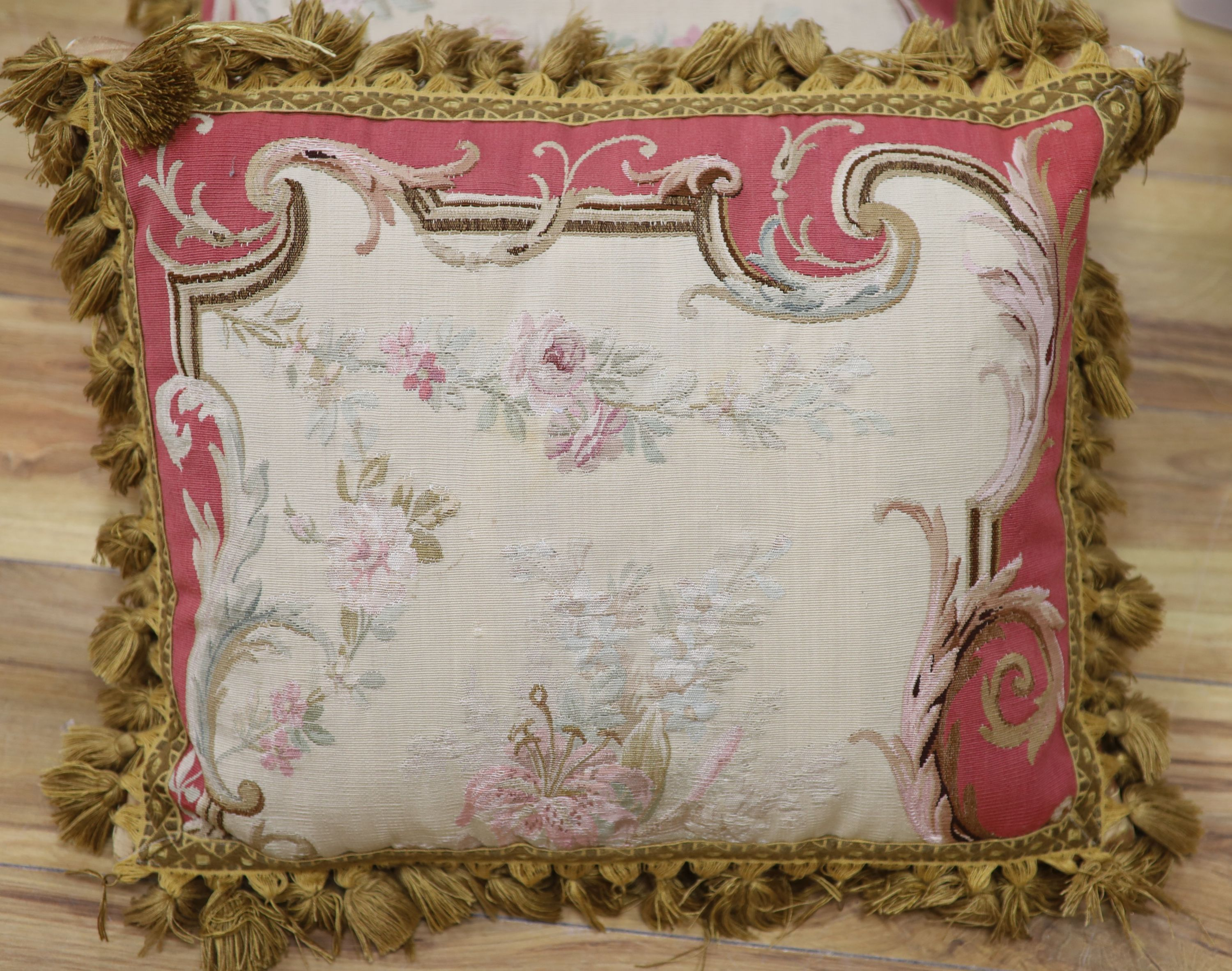 A pair of Aubusson cushions (made from a 19th century Aubusson tapestry)CONDITION: Approx, 42 x - Image 2 of 3