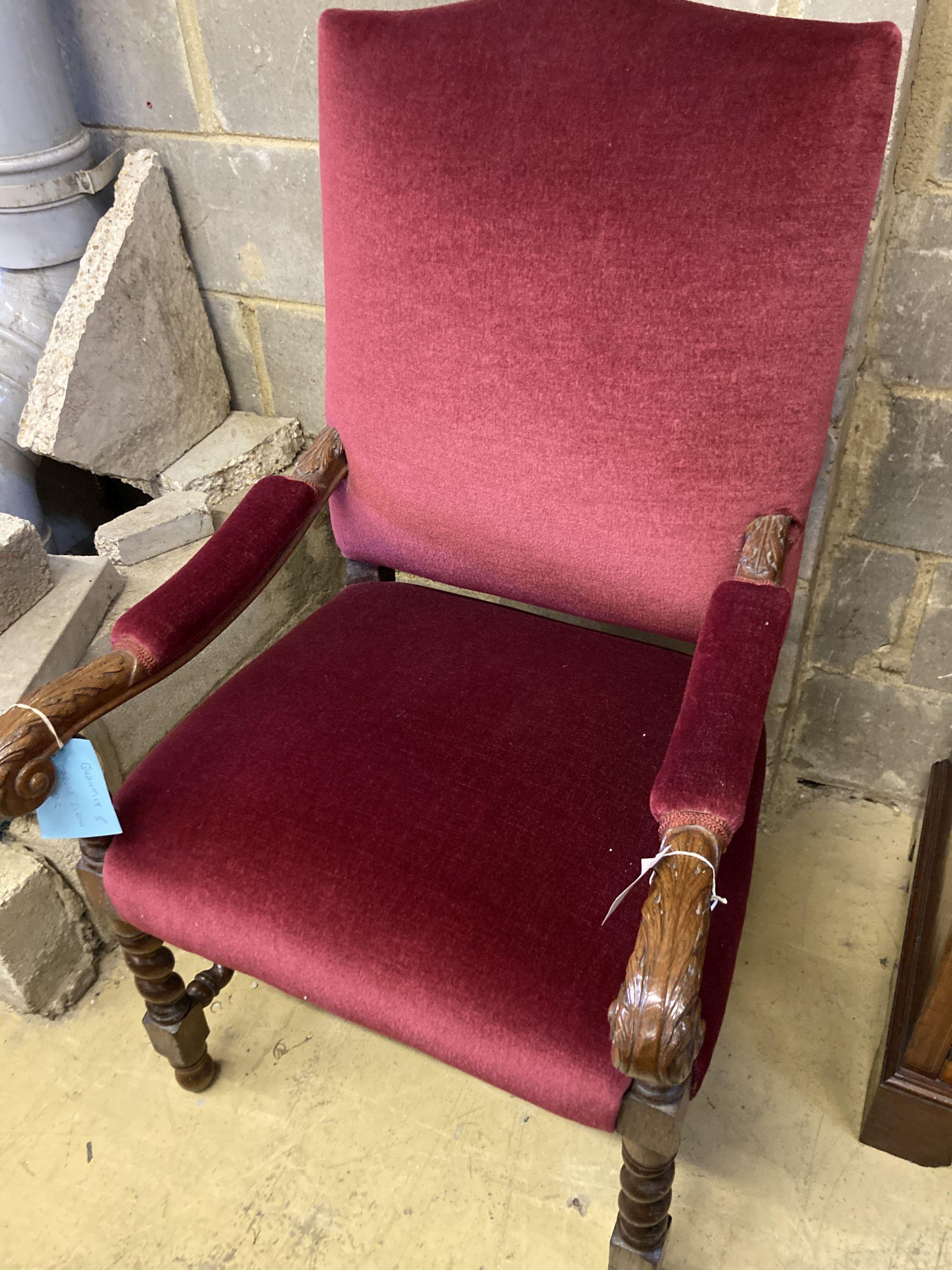 A carved oak Carolean design elbow chair, width 64cm, depth 70cm, height 110cm - Image 2 of 3