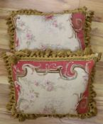 A pair of Aubusson cushions (made from a 19th century Aubusson tapestry)CONDITION: Approx, 42 x
