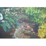Vincent Marignane (Contemporary French School), acrylic on canvas, Waterlilies, 99 x 140cm,