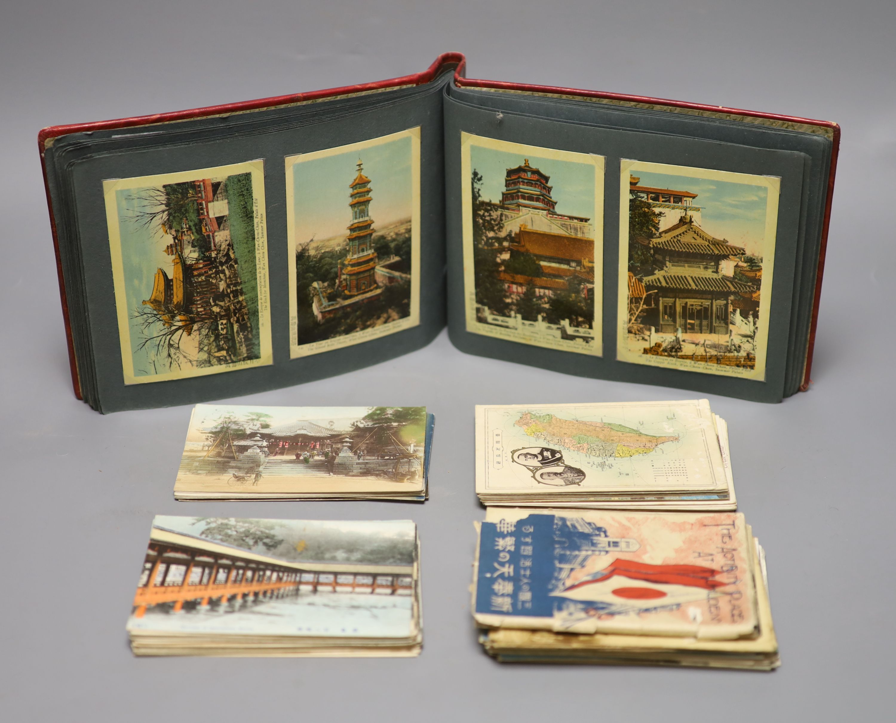 China, Japan and S.E Asia, early 20th century - an album of postcards, including views of the - Image 3 of 6