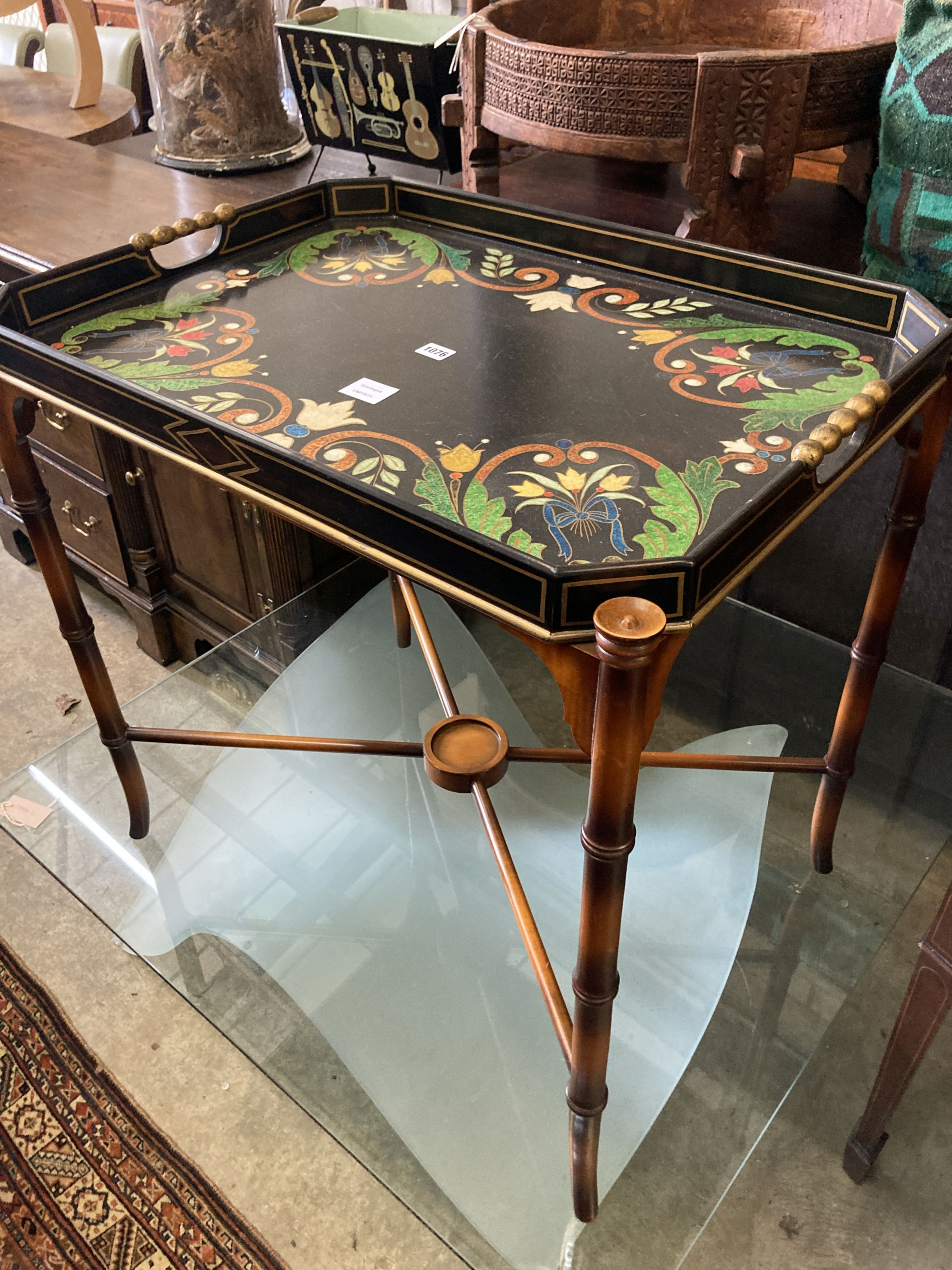 A Julian Chichester painted tray top occasional table, width 74cm, depth 54cm, height 74cm