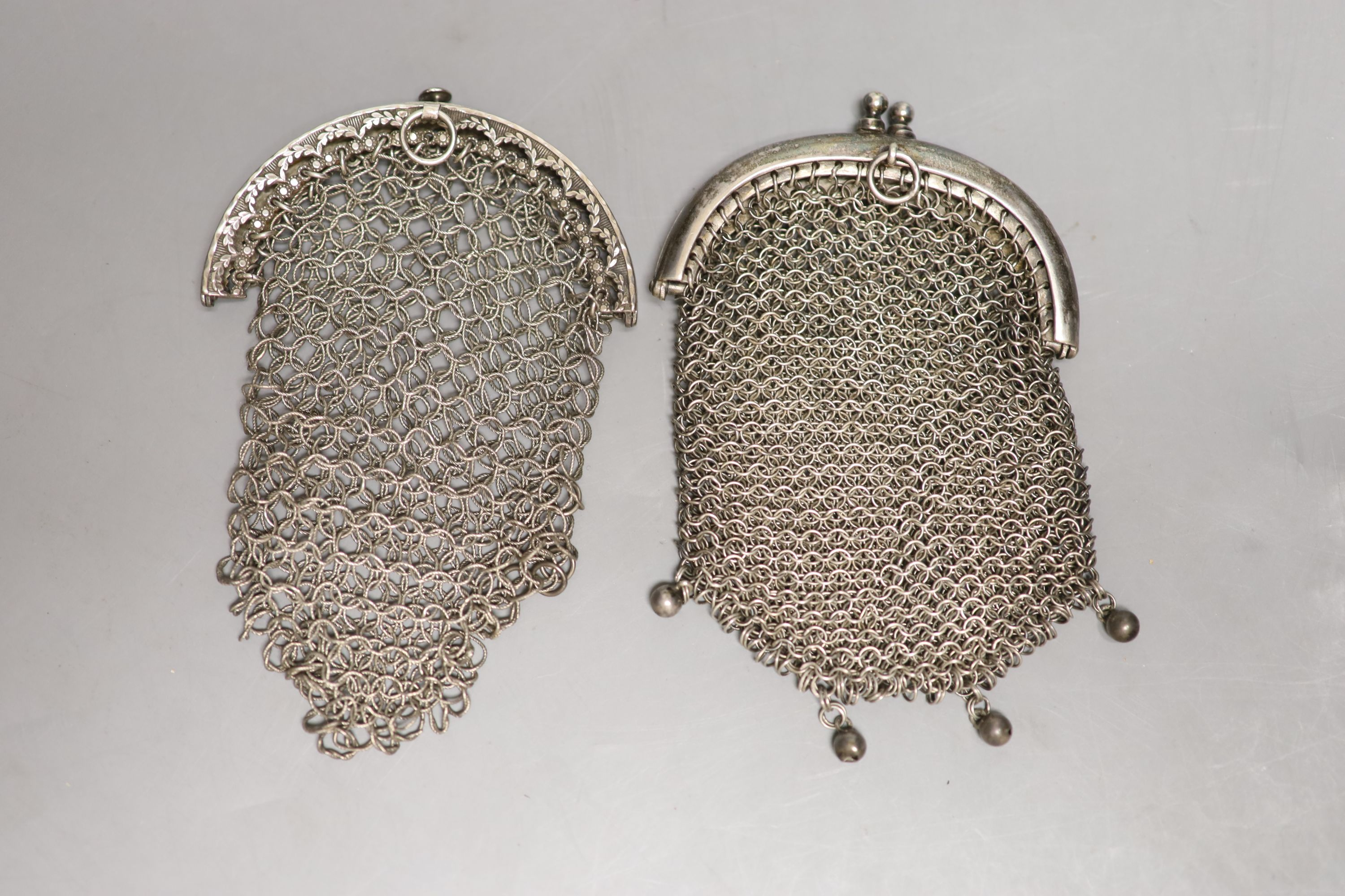 A George III silver chain link purse, John Shaw, Birmingham, 1810, 10cm and one other white metal - Image 2 of 2
