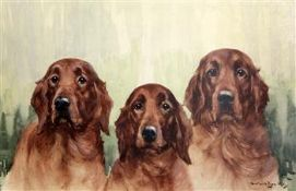 Reuben Ward Binks (1860-1945)watercolourThree Golden Retrieverssigned44.5 x 68cm.
