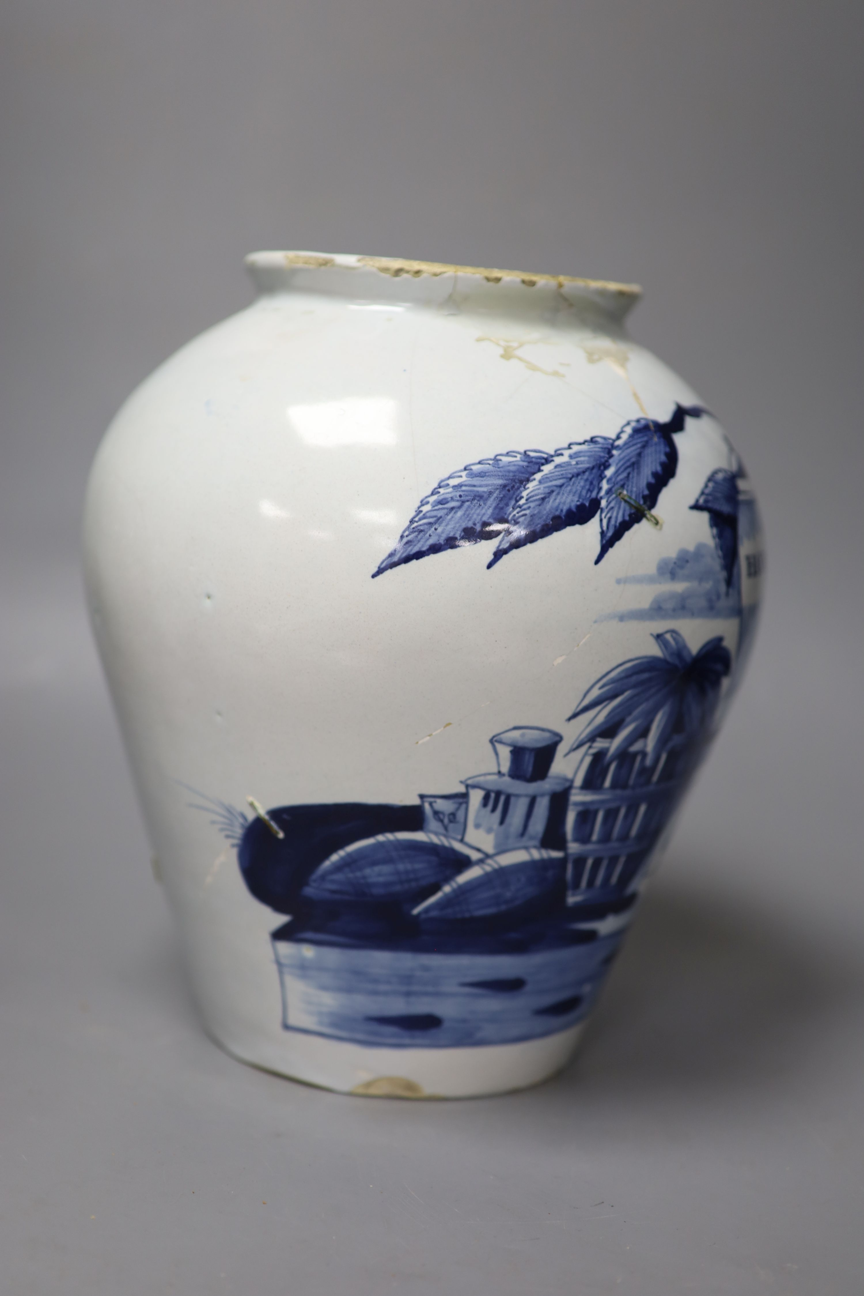 An 18th century Delft 'Havana' tobacco jar, height 26cm (not including cover) (a.f.) - Image 2 of 5