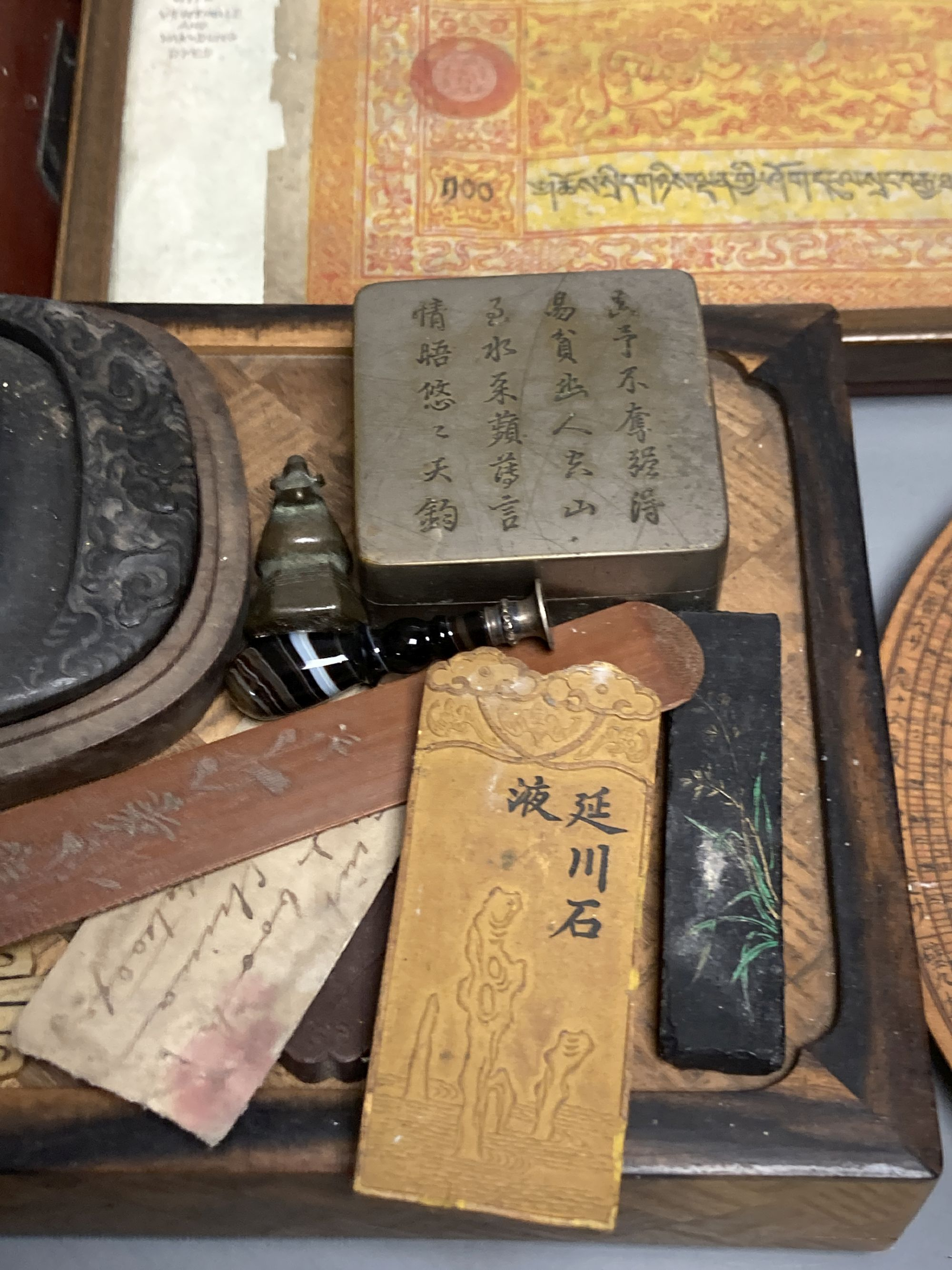 A group of Chinese and Japanese objects, 19th/20th century, including an inscribed ink box an - Image 6 of 17