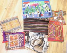 A collection of miscellaneous textiles, comprising a Victorian tapestry wall panel worked with