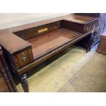 An early 19th century mahogany square piano converted to a desk, length 170cm, depth 64cm, height