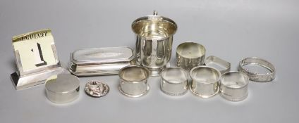 Small silver including a 1930's christening mug, a silver trinket box, five silver napkin rings, a
